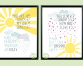Set of 11x14 You Are My Sunshine & You'll Never Know Dear Prints