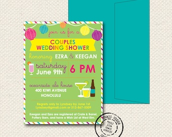 Couples Shower Invitation - 25 Custom Invitations with Envelopes