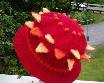 Knit and Felted Wool Adult RED hat with Orange and Yellow Points and Orange Bobbles