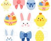 25 Easter Clip Art - INSTANT DOWNLOAD - Easter Bunny Clip Art - Easter Egg Clip Art - png jpg - Commercial Use