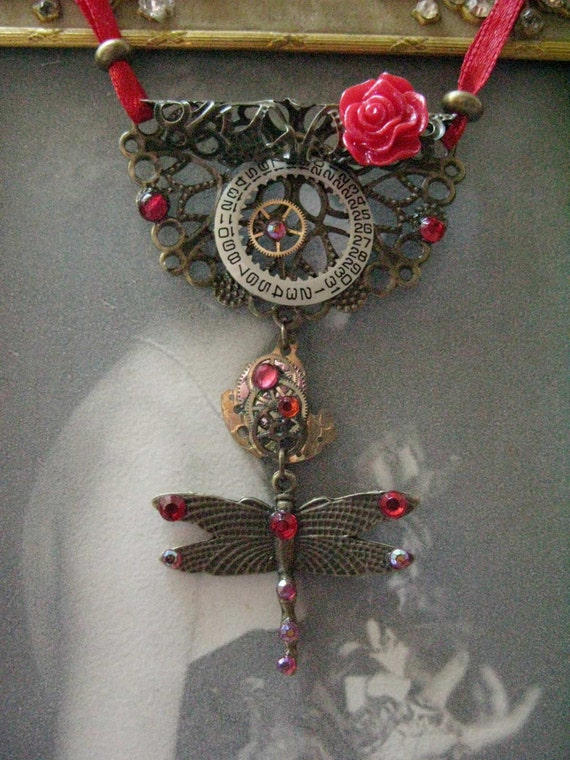 Steampunk Gypsy Necklace in Red: Unique Jewelry Eco Friendly artisan handcrafted jewelry handmade jewellery Tribal Gypsy Gipsy