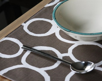 Handmade Placemats - Brown with Free Hand Circles - Set of 4