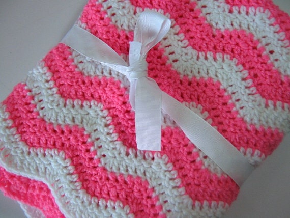 Free Crochet Baby Afghan Edging Patterns : Easy Ripple Baby Blanket Crochet PDF Pattern Instant Download