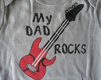 My Dad Rocks, Guitar Onesie,Personalized Bodysuit, Dark Gray or Red Long Sleeve Onesie