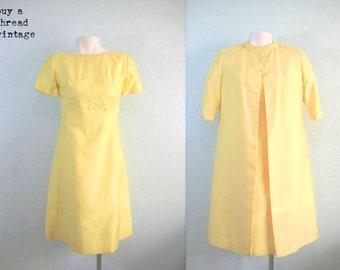 Vintage 60s Emma Domb Buttercup Mod Dress and Coat