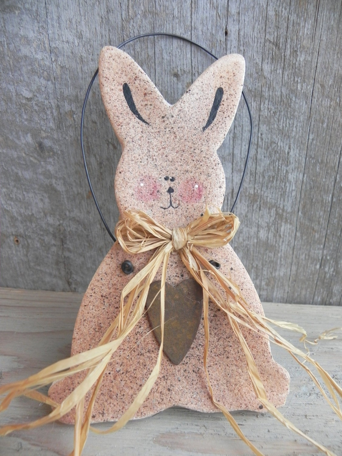 primitive easter bunny salt dough ornament