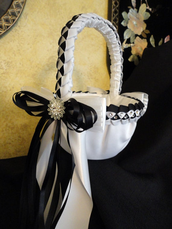 Flower Girl Baskets Small : Small wedding flower girl basket black and white or custom