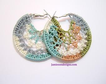 Aspen Pastels small Crochet Hoop Earrings