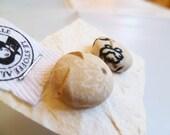 Fabrics button earrings made fabrics - twins