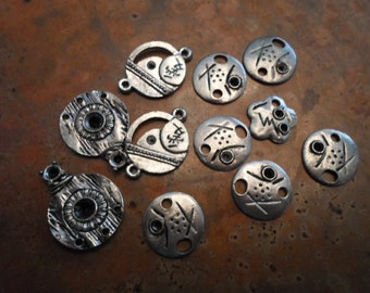 Tibet Silver Jewelry Findings lot of nine