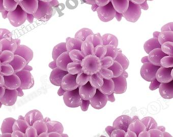 20mm - Lilac Purple Dahlia Chrysanthemum Flower Cabochons, Flower Cabs, Large Chrysanthemum Flatbacks, Mum Shaped, Mum Cabochons (R2-083)