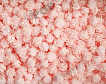 7.5mm - Pink Teeny Tiny Rose Resin Cabochons, Tiny Flower Cabochons, Rose Shaped Flatback Cabochons, Tiny Flatback Roses, 7.5mm  (R3-052)
