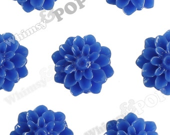 15mm - Royal Blue Chrysanthemum Flower Cabochons, Dahlia Flatbacks, Mum Shaped, (R3-107)