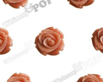 Open Bud Rust Orange Rose Cabochons, Rose Flower Cabochons, 15mm x 7mm (R2-141)