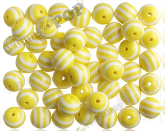Yellow 20mm Striped Gumball Beads, Opaque Acrylic Round Beads, Striped Bubble Gum Beads, Striped Beads. Chunky Beads, 20MM, 2MM Hole