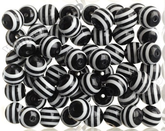 Black 20mm Striped Gumball Beads, Opaque Acrylic Round Beads, Striped Bubble Gum Beads, Striped Beads. Chunky Beads, 20MM, 2MM Hole