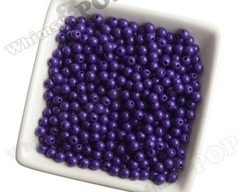 6mm - 100 PACK of Dark Purple Acrylic Round Beads,  Mini Gumball Beads, 6mm Beads, 1mm Hole