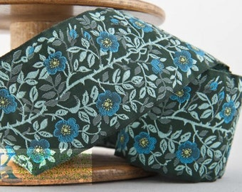 Dog Rose Ribbon - Green/Mint/Turquoise (1 meter, Item:100361-75-100), Made in Germany