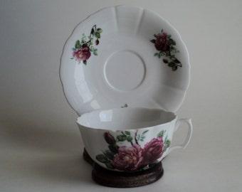 Vintage Tea Cup Godinger Dark Pink and Pink Rose Tea Cup