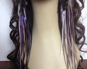 Unique Very Long Grizzly Feather Earrings - Purple Nights Feather Extension Earings