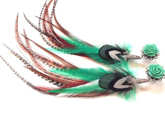 """Feather Plugs Turquoise Long 1/2 inch Dangle Plugs with Feathers 9/16"""", 00g Rose Plugs for Stretched Ears"""