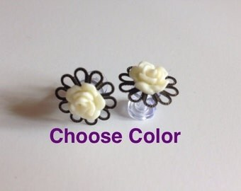 6g Rose Plugs Flower Plugs 4mm Gauges purchase alone OR add on for Feather Plugs 16 Color Choices Wood/Acrylic/Steel Screw Back