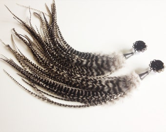 """Long Dangle Plugs Rose Gauges Grizzly Feather Plugs 9/16"""", 1/2"""", 00g, Gauged Earrings Black And White Plugs 24 Rose Colors"""