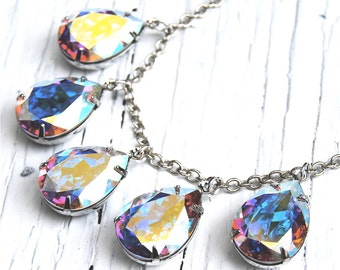 Aurora Borealis Rainbow Necklace Swarovski Crystal Tear Drop Dangle Necklace Duchess Pear Necklace Mashugana