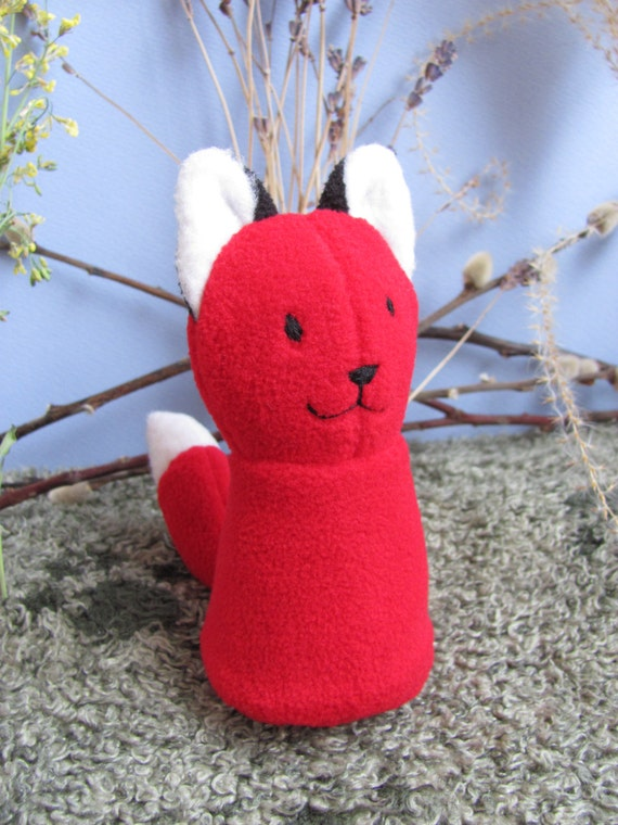 Happy Red Fox Kitsune , Stuffed Animal Plush Toy, Ecofriendly Upcycle