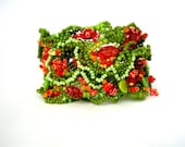 Beaded bracelet, Beadwork bracelet, Seed beads jewelry, Green Orange Chartreuse Freeform peyote bracelet, summer