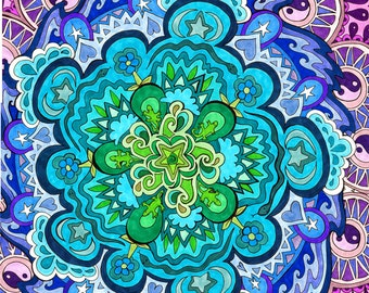 Mystic Mandala Print (Psychedelic Green Blue Violet Spiritual Colorful Pattern in Copic Marker and Ink)