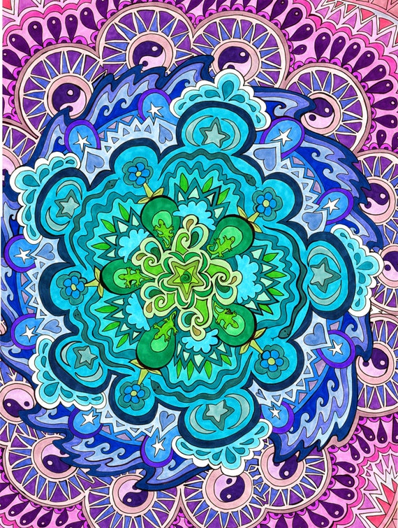 mystic mandala print psychedelic green blue violet spiritual. Black Bedroom Furniture Sets. Home Design Ideas