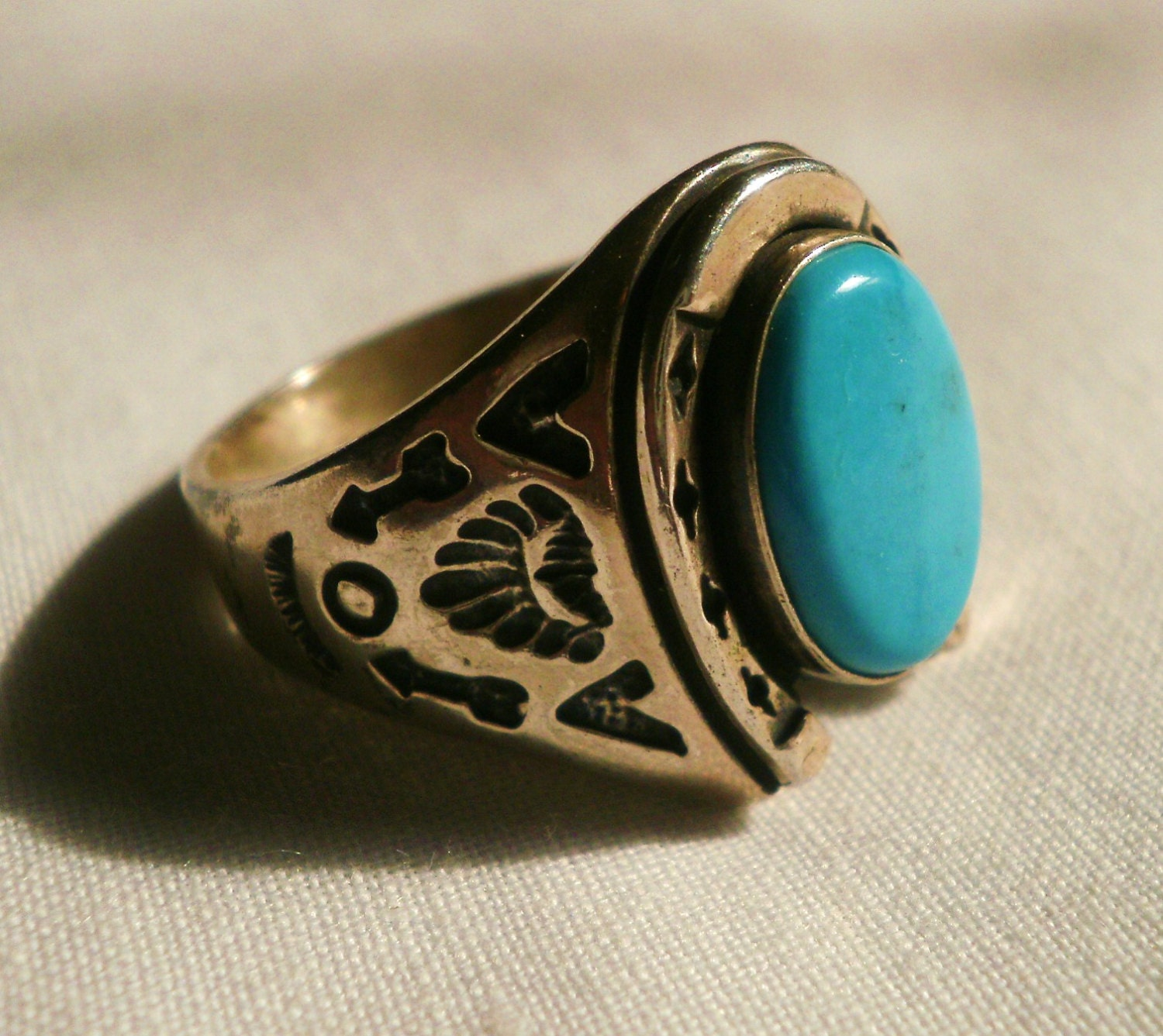 large sterling silver turquoise s horseshoe ring by