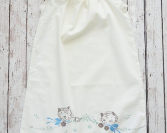 Vintage Kittens Pillowcase Dress Size 12-18 months