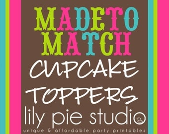 Custom Cupcake Toppers  Made to Match any invitation design from LilyPieStudio