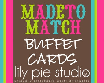 Custom Buffet Cards Made to Match any invitation design from LilyPieStudio