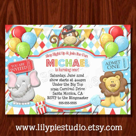 Carnival Circus Birthday Invitation printable digital file by Lily – Circus Birthday Invitation