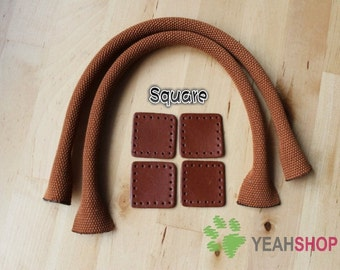 Webbing Bag Handles with Leather Parts - BROWN - 55cm / 22 inch - HD46