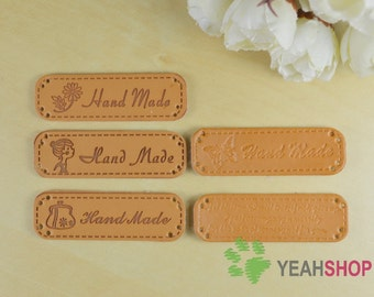 Brown PU Leather Sewing Labels for Bags - Flower Purse Butterfly Girl Sentence - Set of 5 (SL8)