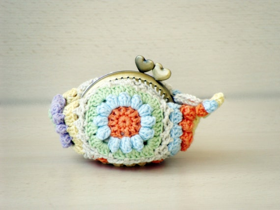 Flowers Kiss lock coin purse crochet pastels granny by zolayka