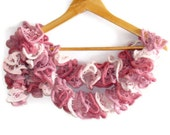women Hand Knitted Ruffled Scarf, women accessories, ruffle salsa scarves, gifts idea, for her, fashion, summer SALE