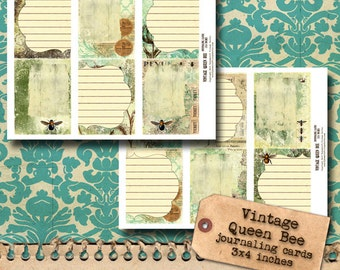Vintage Bee and Botanicals - Journaling Cards (3x4in)
