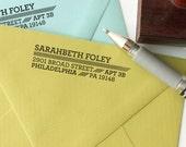 Custom return address stamp AIR MAIL DESIGN with wood handle