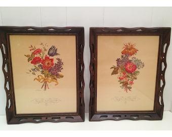 Pair of Vintage Floral Art