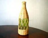 wicker demijohn wine bottle   green glass