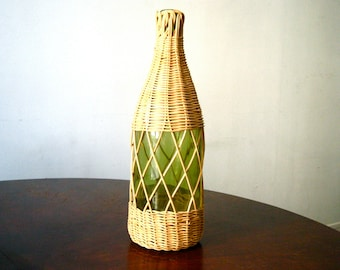Vintage French Demijohn green glass and wicker French wine bottle glass bottle Collectible Glass French Bistro French Barware