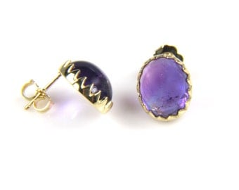 Amethyst Earrings - Gold Amethyst Earrings -Purple Gemstone - February Birthstone Earrings - Handmade Earrings - Gift for Her - Fine Jewelr