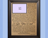 Poem I Love You Dad  / Wedding Gift / Gift for Dad / Father of the Bride Gift / Personalized Picture Frame / Personalized Father's Gift