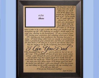 Poem I Love You Dad  / Wedding Gift / Gift for Dad / Father of the Bride Gift / Personalized Picture Frame / Christmas Gift