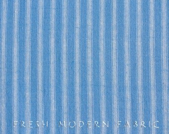 Half Yard Wee Wovens Ticking Stripe in Tonal Boy Blue, Moda Fabrics, 100% Brushed Cotton Fabric